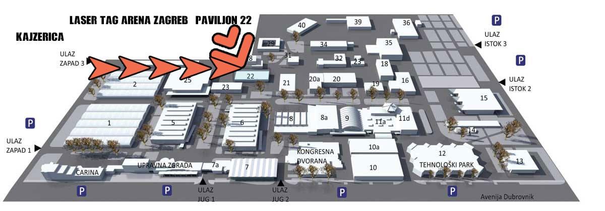 Lokacija PAVILJON 22 Laser tag Zagreb